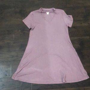 Purple tee dress with cut out